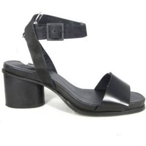 COS Black Leather Strappy Block Heel Sandals